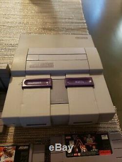 Super Nintendo Snes-001 Console Sns Et Câbles Testés Et Fonctionne Avec 4 Jeux