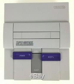 Super Nintendo Snes Bundle Console (sns-001) 2 Nouveaux Contrôleurs Et Cordelettes Nettoyé