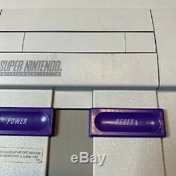 Super Nintendo Snes Console Avec Les Contrôleurs Oem + Avec Des Étoiles Mario World & Tous