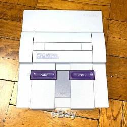 Super Nintendo Snes Console Avec Les Contrôleurs Oem + Avec Mario Kart & Donkey Kong
