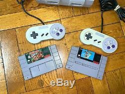 Super Nintendo Snes Console Avec Les Contrôleurs Oem + Avec Mario World Et Donkey Kong