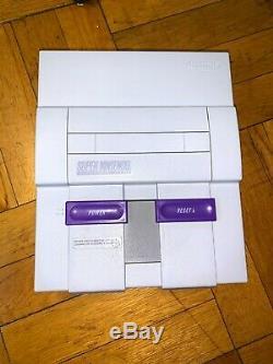 Super Nintendo Snes Console Avec Les Contrôleurs Oem + Mario World Et Mario Kart Bundle