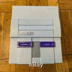 Super Nintendo Snes Console Marque Oem Complete Set + With Stars Mario World & Tous