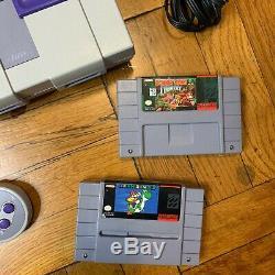 Super Nintendo Snes Console Originale Set Système Oem Avec Mario World & Donkey Kong