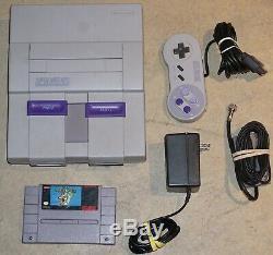 Super Nintendo Snes Console Système Avec Mario World 2 Contrôleurs Grande Forme