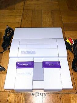 Super Nintendo Snes Console Système Avec Mario World Et Mario Kart Bundle Clean