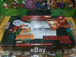 Super Nintendo Snes Donkey Kong Set Console Et Mousse Et Papiers Seulement Rares