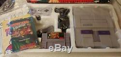 Super Nintendo Snes Game System Console Donkey Kong Country Set Complet Dans L'encadré