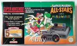 Super Nintendo Snes Mario All Stars Green Console Pal Boxed Protector Testé