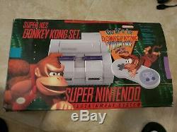 Super Nintendo Snes Super Console Donkey Kong Set Complete En Box Cib! Examiné