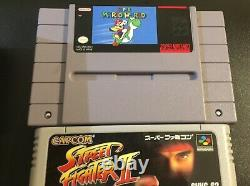 Super Nintendo Snes System Console Avec Mario World + Famicon Street Fighter 2