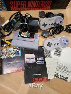 Super Nintendo Snes Système Console De Jeu Mario All Stars Version Open Box Testée