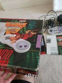 Super Nintendo Snes Système Console Donkey Kong Country Box Set Dk Cib