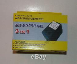 Super Nintendo Système Av Cable & Cordon D'alimentation Snes Hookups Câble Nouveau