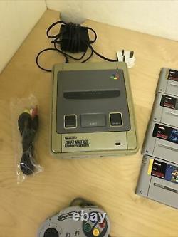 Super Nintendo (snes) Bundle Avec Tous Les Câbles, 9 Jeux, 2 Contrôleurs Old School
