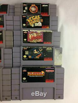 Super Nintendo (snes) Lot De 24 Cartouches, Teste Space Ace, Pac-man, Batman +
