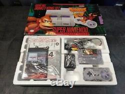 Système Super Nintendo Console Snes Donkey Kong Country Set Cib Complet En Boîte